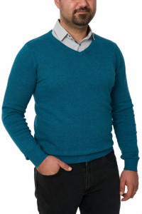 Pulover barbat in anchior, Glory, turquoise blue