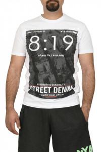 Tricou barbat cu imprimeu Street Denim, alb