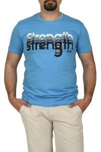 Tricou barbat cu imprimeu STRENGTH, turcoaz