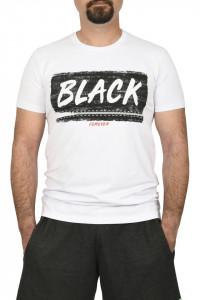 Tricou slim fit cu imprimeu BLACK, alb