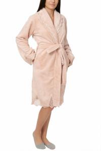 Halat dama cu aplicatii din dantela, Jeannine, pink nude