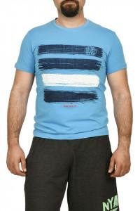 Tricou barbat cu imprimeu grafic, turcoaz