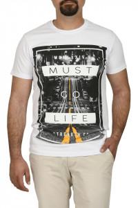 Tricou barbat cu imprimeu MUST GO LIFE, alb