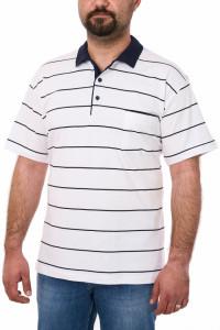 Tricou clasic bumbac, Blue Marine, alb
