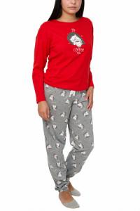 Pijamale dama cu imprimeu arici, Vienetta, rosu