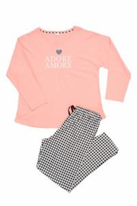 Pijamale bumbac Amore, big size, roz piersic