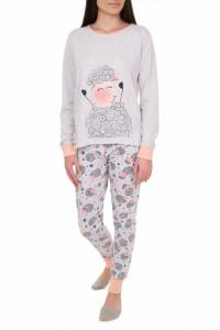 Pijamale dama cu garnituri contrastante, Sheep, gri