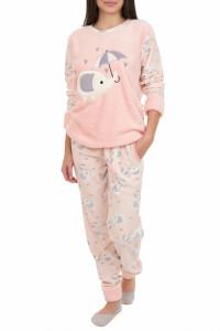Pijamale polar cu blanita, roz