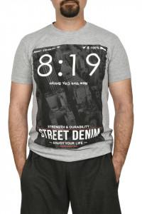 Tricou barbat cu imprimeu Street Denim, gri