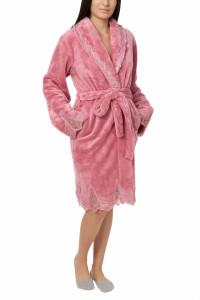 Halat dama cu aplicatii din dantela, Jeannine, dark powder pink