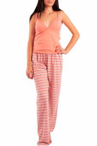 Pijama dama, cu pantalon lung, Linse, portocaliu