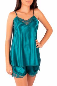Pijama dama din satin, MissDore, verde smarald