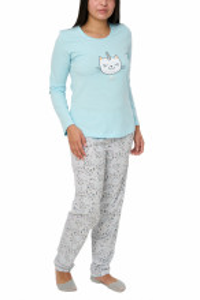 Pijamale dama din bumbac, Kitty, crystal blue