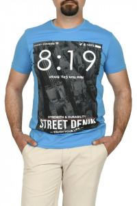 Tricou barbat cu imprimeu Street Denim, turcoaz