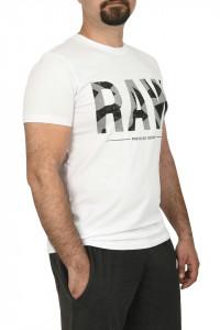 Tricou slim fit cu imprimeu RAW, alb