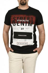 Tricou slim fit cu imprimeu STREET DENIM, negru