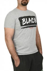 Tricou slim fit cu imprimeu BLACK, gri