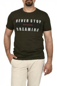 Tricou slim fit, NEVER STOP DREAMING, kaki
