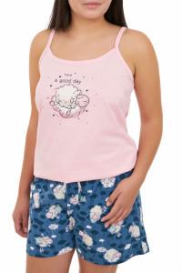 Pijama dama cu pantalon scurt, GOOD DAY, roz