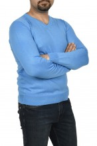 Pulover barbat, in anchior, turcoaz