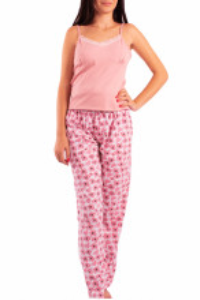 Pijama dama, cu pantalon lung, Linse, roz pudra