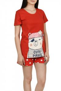 Pijama dama cu pantalon scurt cu buline, rosu