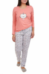 Pijamale dama din bumbac, Kitty, portocaliu coral