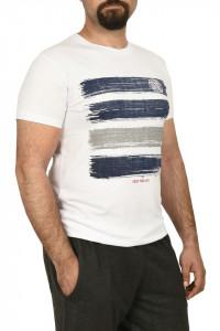 Tricou barbat cu imprimeu grafic, alb