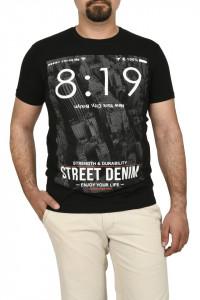 Tricou barbat cu imprimeu Street Denim, negru