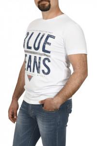 Tricou barbat imprimeu Blue Jeans, alb