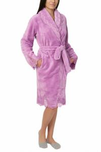 Halat dama cu aplicatii din dantela, Jeannine, light purple