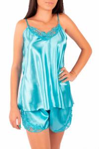 Pijama dama din satin, MissDore, turcoaz