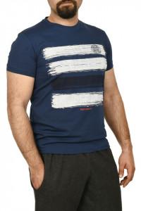 Tricou barbat cu imprimeu grafic,albastru