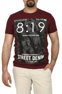 Tricou barbat cu imprimeu Street Denim, grena