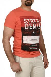 Tricou slim fit cu imprimeu STREET DENIM, corai