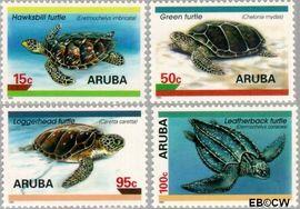 Aruba AR 164#167  1995 Schildpadden  cent  Postfris