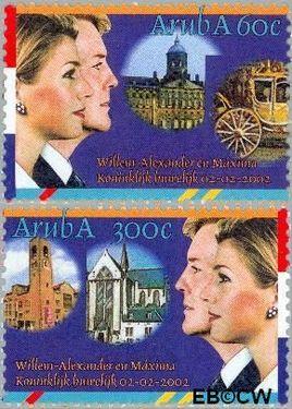 Aruba AR 281#282  2002 Huwelijk Alexander en Máxima  cent  Postfris