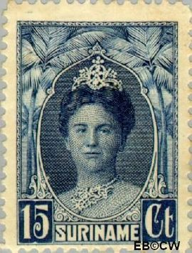 Suriname SU 120  1927 Gewijzigd jubileum-type 15 cent  Gestempeld