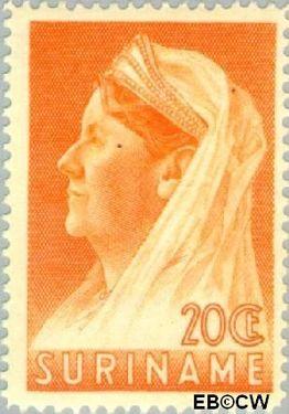 Suriname SU 170  1936 Wilhelmina met sluier 20 cent  Gestempeld