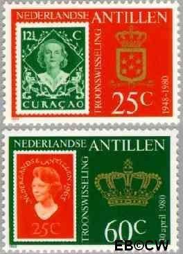 Nederlandse Antillen NA 654#655  1980 Inhuldiging koningin Beatrix 85+40 cent  Postfris