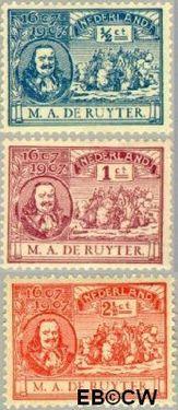 Nederland NL 87#89  1907 Ruyter, M.A. De  cent  Postfris