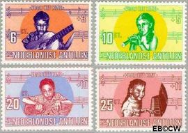 Nederlandse Antillen NA 416#419  1969 Kind en muziek  cent  Postfris