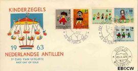 Nederlandse Antillen NA E27  1963 Kindertekeningen 20 cent  FDC zonder adres