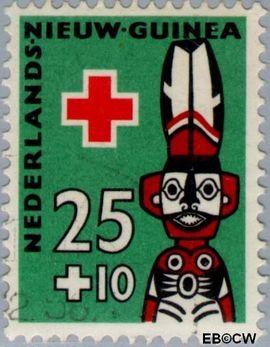 Nieuw-Guinea NG 51  1958 Voorouderbeelden 25+10 cent  Gestempeld