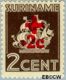 Suriname SU 202  1942 Scheepje 2+2 cent  Gestempeld