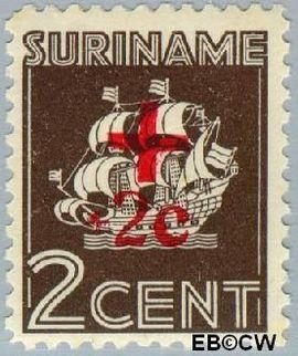 Suriname SU 203  1942 Scheepje 2+2 cent  Gestempeld