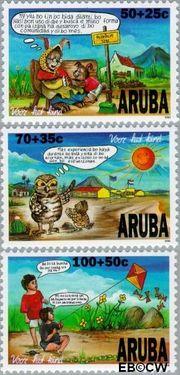 Aruba AR 185#187  1996 Kind en dier  cent  Postfris