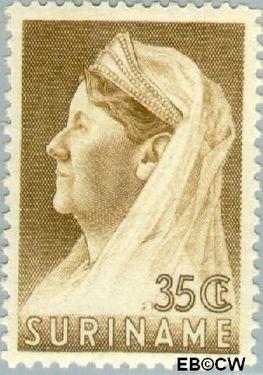 Suriname SU 174  1936 Wilhelmina met sluier 35 cent  Gestempeld