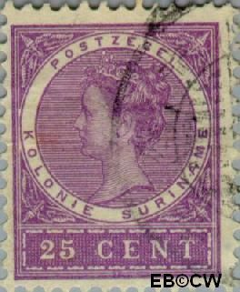 Suriname SU 53  1904 Medaillon 25 cent  Gestempeld