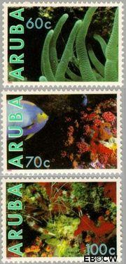 Aruba AR 73#75  1990 Onderwaterleven  cent  Postfris